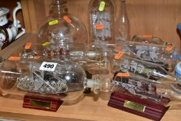VARIOUS GLASS SHIPS IN BOTTLES, to include 'Pinta 1492', length approximately 23.5cm, 'Cutty