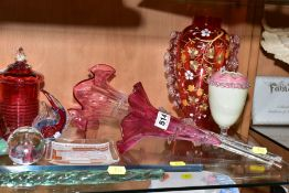A GROUP OF VICTORIAN AND LATER COLOURED GLASSWARE, including epergne trumpets, modern glass