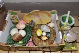 VARIOUS HARDSTONE AND SHELL ITEMS, ETC, to include onyx cigarette box and lighter, various eggs (