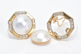 A PAIR OF YELLOW METAL, MABE PEARL AND DIAMOND EARRINGS, each of a hexagonal form with a central