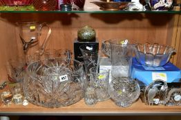 A GROUP OF VICTORIAN AND LATER GLASSWARE including modern boxed pieces, including a Galway quartz