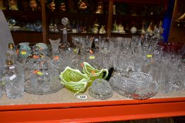 A GROUP OF GLASSWARE, including drinking glasses, bowls, grapefruit dishes, yellow and vaseline