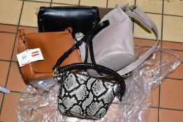 FOUR JOHN LEWIS HANDBAGS (surplus stock), 'Keeplay' leather bag, two 'Keira' crossover bags (in