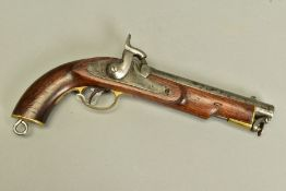 AN ANTIQUE 13 BORE PERCUSSION CAVALRY PERCUSSION PISTOL fitted with an 8'' barrel, it bears no proof