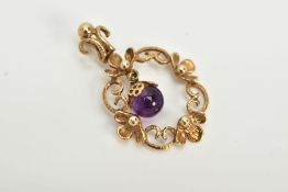 A LATE 20TH CENTURY 9CT GOLD FANCY AMETHYST PENDANT, floral design suspending a round bead amethyst,