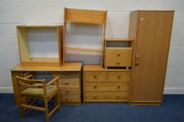 A QUANTITY OF MODERN PINE FURNITURE to include a single door wardrobe chest of two over two