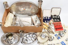 A BOX OF METALWARE, to include a silver plated on copper oval foliate engraved tray, two 'Walker &