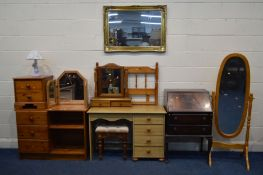 A QUANTITY OF BEDROOM FURNITURE to include a pine finish desk stool three drawer sideboard two