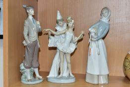 THREE LLADRO FIGURES, comprising Girl with Lamb No 4505, by Fulgencio Garcia 1970, retired 2002,
