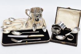 A SELECTION OF SILVER ITEMS, to include a silver cup with a scroll handle hallmarked Birmingham