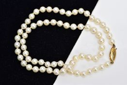 A GRADUATED CULTURED PEARL NECKLACE, fitted to a yellow metal oval fish hook clasp, stamped 375,