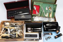 TWO BOXES AND A CANTEEN OF CUTLERY, to include pieces such as a cased 'Arthur Price' two piece salad