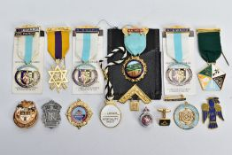 AN ASSORTMENT OF MASONIC RELATED ITEMS, to include six medals on ribbons, a white enamel St.Leger