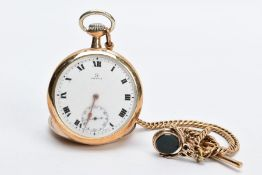 AN OPEN FACED GOLD PLATED OMEGA POCKET WATCH, white dial signed 'Omega', Roman numerals, seconds