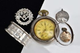 A SELECTION OF ITEMS, to include a ladies Swiss silver pocket watch with white floral detailed dial,