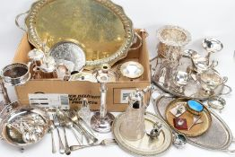 A BOX OF METALWARE, to include a large white metal oval tray, silver plated trays, a 'Mappin and