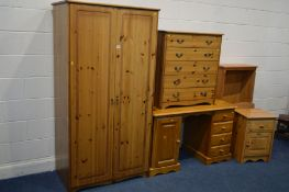 A MODERN PINE DOUBLE DOOR WARDROBE width 92cm x depth 57cm x height 181cm together with a pine