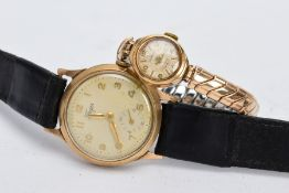 A LADIES AND A GENTS 9CT GOLD WRIST WATCHES, the ladies 'Chalet' wristwatch, discoloured silver dial