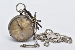 A SILVER OPEN FACED POCKET WATCH WITH KEY AND A WHITE METAL CHAIN WITH FOB, silver and gold detailed