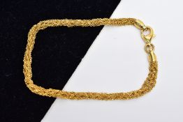 A MULTIPLE FINE TWISTED CURB LINK CHAIN BRACELET, measuring approximately 180mm in length,