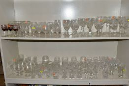 A QUANTITY OF CUT GLASS DRINKING GLASSES, ETC, to include brandy, whisky, wine, sherry and port