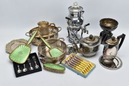 A BOX OF METALWARE, to include a three piece vanity set of a hair brush, mirror and clothes brush of