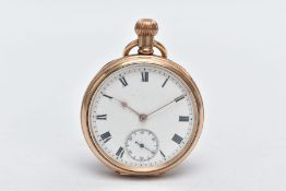 A GOLD PLATED OPEN FACED POCKET WATCH, circular white dial, roman numerals, gold tone hands, seconds