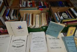 BOOKS, five boxes of miscellaneous titles to include music scores, household and domestic, food