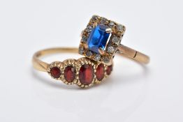 TWO 9CT GOLD GEMSTONE RINGS, to include a blue and white synthetic spinel square cluster ring,