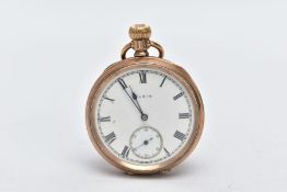 A GOLD-PLATED OPEN FACED POCKET WATCH, circular white dial signed 'Elgin', roman numerals, blue
