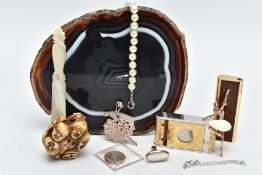 A BOX OF MISCELLANEOUS ITEMS, to include a brown and white banded agate slice, a mother of pearl
