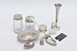 A QUANTITY OF SILVER ITEMS, to include a George III Old English pattern tablespoon engraved initials