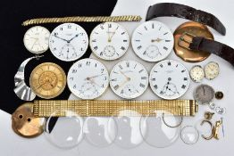 AN ASSORTMENT OF WATCH PARTS, to include seven pocket watch movements with names such as 'Waltham,
