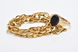 TWO 9CT GOLD JEWELLERY ITEMS, to include an onyx small oval signet ring, ring size E and hollow curb