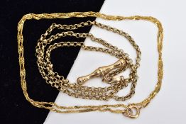 TWO 9CT GOLD CHAINS, to include a fine twisted curb link chain, measuring approximately 460mm in