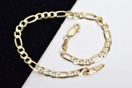 A 9CT GOLD METRIC FIGERO LINK BRACELET, measuring approximately 180mm in length, hallmarked 9ct