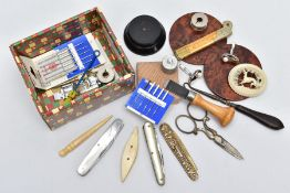 A SELECTION OF MISCELLANEOUS ITEMS, to include a small box containing sewing materials such as