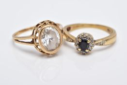 TWO 9CT GOLD GEMSTONE RINGS, to include a sapphire and diamond small oval cluster ring, ring size