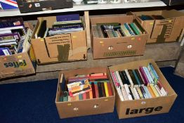 SIX BOXES OF BOOKS, subjects include Fiction 1950's to late 20th Century, antiques, general
