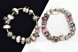A PANDORA CHARM BRACELET AND ONE OTHER, the Pandora bracelet fitted with sixteen charms in forms