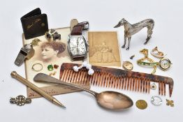A BOX OF MISCELLANEOUS ITEMS, to include a yellow gold V-shape ring with missing stone, hallmarked