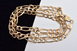 A 9CT GOLD FIGARO CHAIN, fitted with a lobster claw clasp hallmarked 9ct gold London import,
