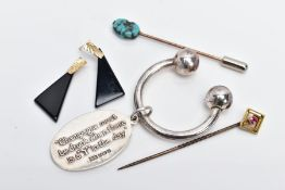 A GOLD RUBY TOPPED STICK PIN, A TURQUOISE STICK PIN, A SILVER KEYRING AND A PAIR OF EARRINGS, the