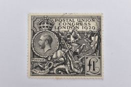 A 1929 'POSTAL UNION CONGRESS LONDON' ONE POUND POSTAL STAMP, depicting St. George and a dragon