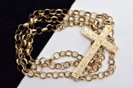 A 9CT GOLD BELCHER CHAIN AND CROSS PENDANT, the belcher chain fitted with a lobster claw clasp