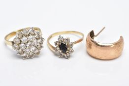 TWO 9CT GOLD RINGS AND A SINGLE HOOP EARRING, the first ring designed as a large cluster set with