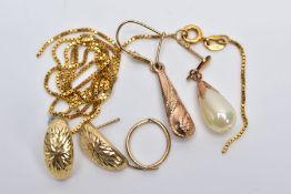 A SMALL QUANTITY OF YELLOW METAL JEWELLERY, to include a broken 9ct gold box link chain with