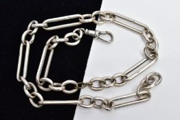 A STERLING SILVER ALBERT CHAIN, the fetter style chain fitted with a lobster claw clasp, each link
