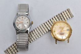 TWO GENTS WRISTWATCHES, to include an Omega Seamaster, circular gold tone dial signed 'Omega
