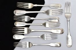 A QUANTITY OF SILVER FIDDLE PATTERN FORKS, each with an engraved initial 'K' to the handles, each